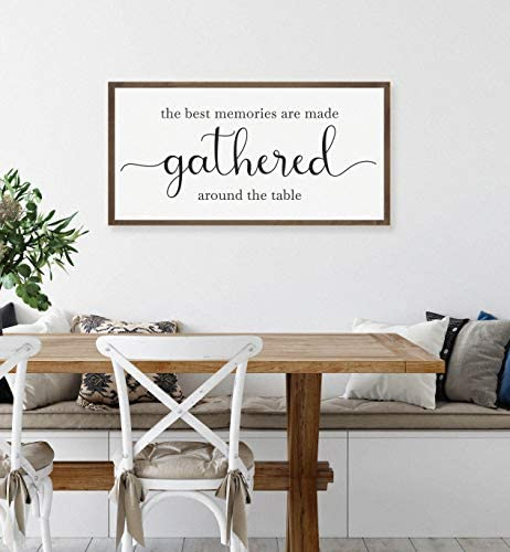 Amazon Com Pottelove The Best Memories Are Made Gathered Around The Table Sign Dining Room Wall Decor Kitchen Sign Kitchen Wall Decor Farmhouse Kitchen Decor 6 In X20 In Art Decor Home