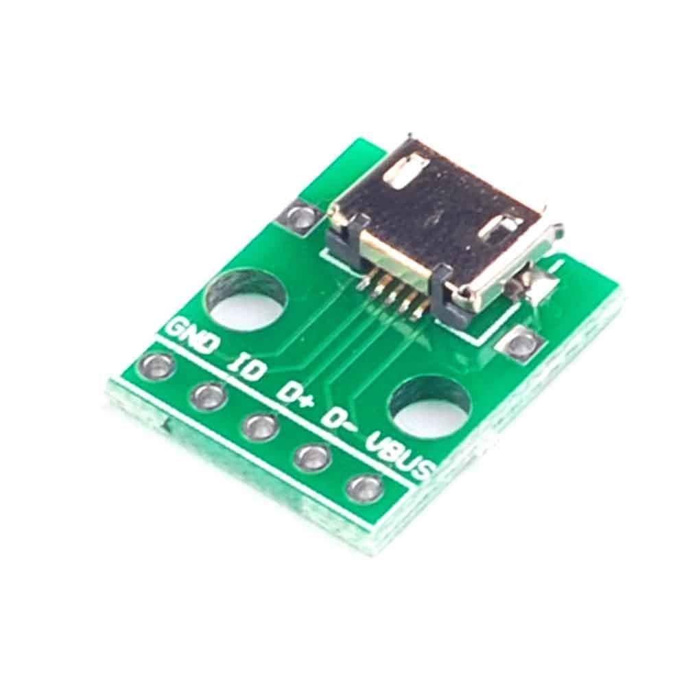 5pcs Female MICRO USB to DIP 5-Pin Pinboard 2.54mm micro USB