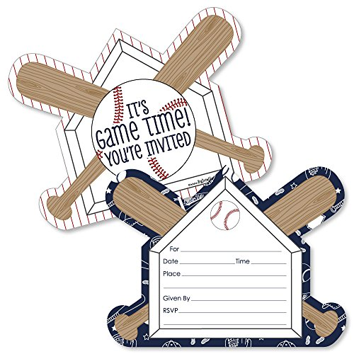 Batter Up - Baseball - Shaped Fill-in Invitations - Baby Shower or Birthday Party Invitation Cards with Envelopes - Set of -