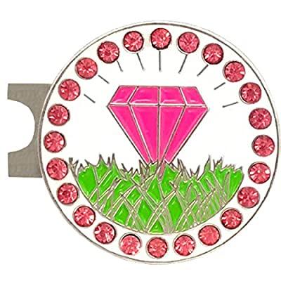 Giggle Golf Bling Pink Diamond In The Rough Golf Ball Marker With A Standard Hat Clip