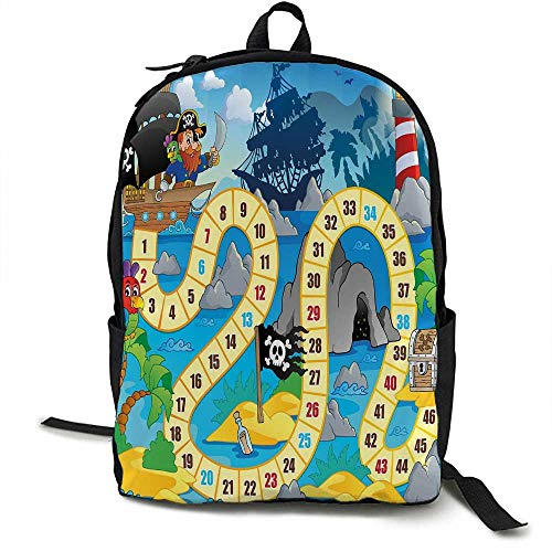 (Board Game Light travel backpack Ghost Ship with Pirates Lighthouse Tropical Island Waters Buccaneer Ocean Palms Multi-functional daily carrying 16.5 x 12.5 x 5.5 Inch Multicolor)