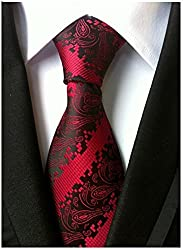 Allbebe Men's Classic Red Jacquard Woven Silk Tie Microfiber Formal Necktie, Red, One Size