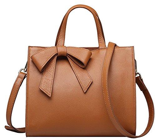 Kattee Women's Soft Leather 3-way Satchel Tote Handbag 4g0765 (yellow)