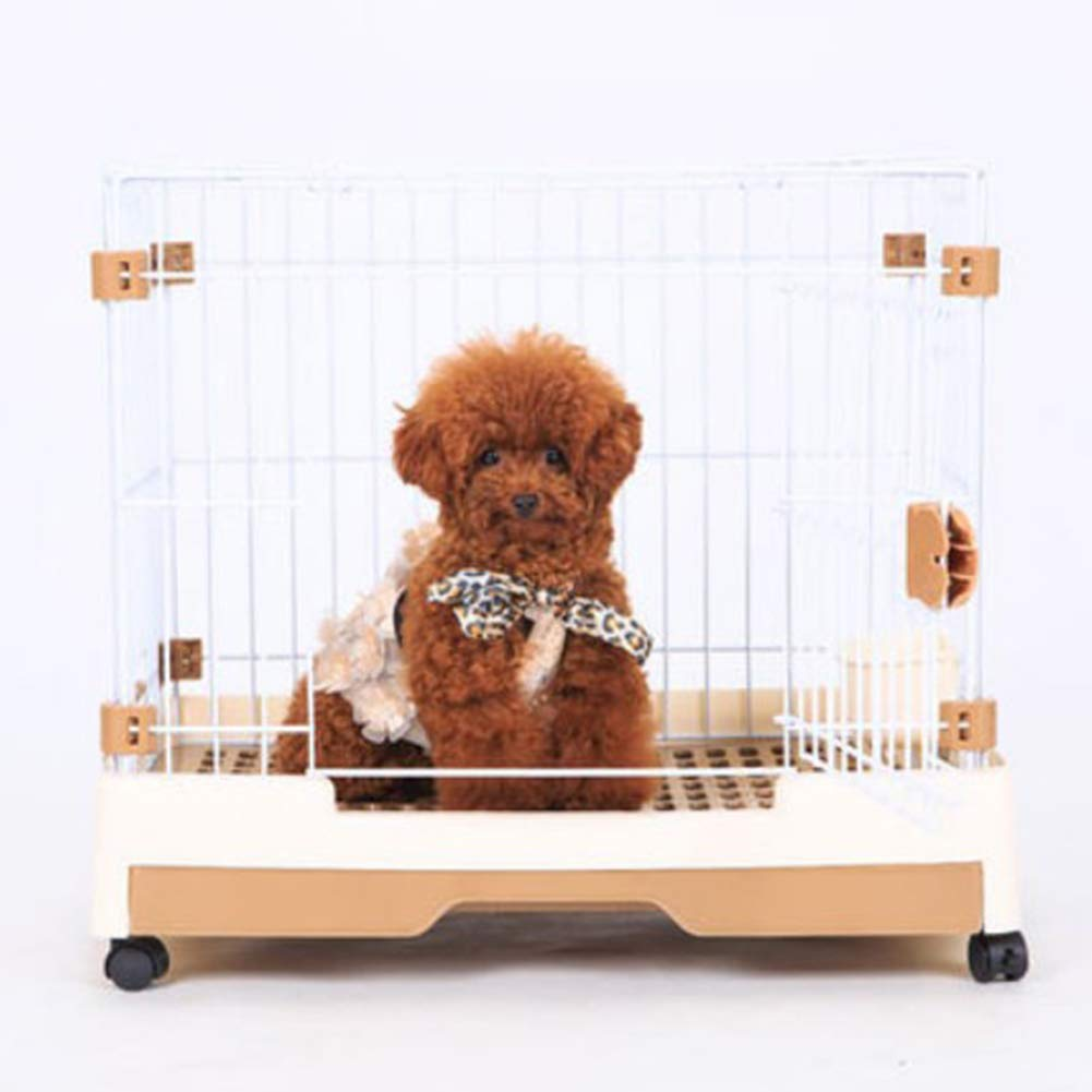 Brown 725357cm Brown 725357cm XCLLL Pet Cage Cat Dog Cage Indoor Outdoor With Toilet Small Medium Dog Pet Fence Durable Portable Detachable,Brown,72  53  57cm