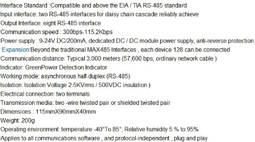 Gowe Industrial grade 8 Port RS485 bidirectional sharing RS-485 HUB 485 distributor Repeater by Gowegroup (Image #3)