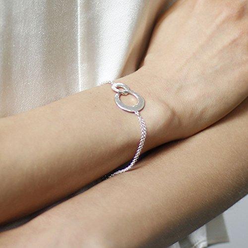 Dower & Hall entrelacés en argent Sterling Cercles imbriqués Double Bracelet Chaîne de 18,5cm