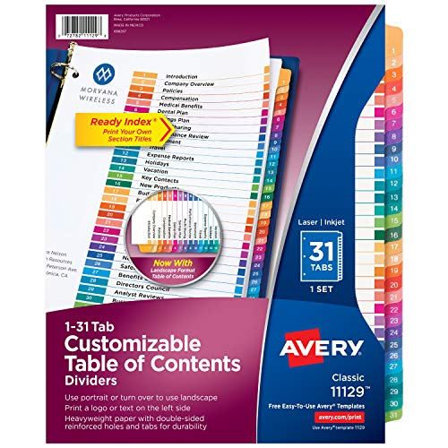 Avery 31-Tab Dividers for a 3 Ring Binders, Customizable Table of Contents, Multicolor Tabs, 1 Set (11129) (52 Week Dividers)