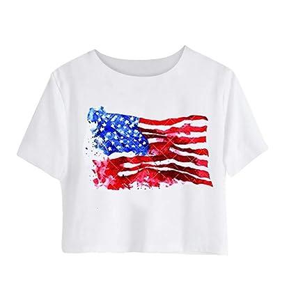 c033d579e65 Amazon.com   Fiaya 4th Of July Women Clothes Blouse American Flag ...