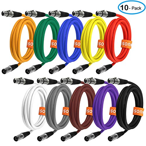 (NUOSIYA Colored Microphone Patch Cable 6 feet, XLR male to female mic cables(10-pack), 3 pin double shielded balanced DMX cables/XLR cables.)