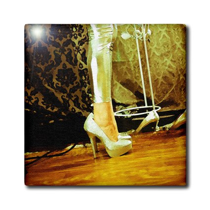 ct_64656_3 Jos Fauxtographee Realistic - Legs with pretty shoes in a golden color on a woman - Tiles - 8 Inch Ceramic Tile