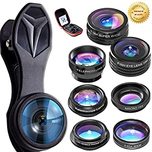 Top Rated 7 in 1 Universal Cellphone Camera Lens Manual Focus Clip-on Telephoto Lens Monocular For IPhone 7, 6S, 6, SE, Samsung Galaxy S7, S6, HTC, LG, Sony
