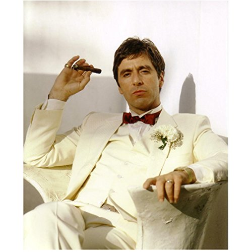 Scarface Al Pacino as Tony Montana Seated in White Smoking Cigar 8 x 10 Inch Photo