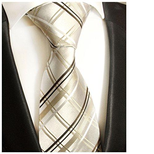 Paul Malone cravate à rayures pour homme en marron ivoire 100% soie