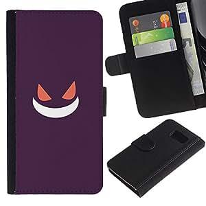 YiPhone /// Tirón de la caja Cartera de cuero con ranuras para tarjetas - Púrpura de Poke Monster - Samsung Galaxy S6