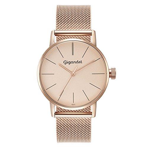 Gigandet Women's Quartz Watch Minimalism Analog Stainless Steel Bracelet Rose Gold G43-022