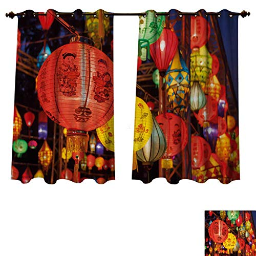 Anzhouqux Lantern Bedroom Thermal Blackout Curtains International Chinese New Year Celebration China Hong Kong Korea Indigenous Culture Drapes for Living Room Multicolor W63 x L72 -
