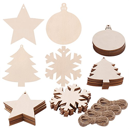 Pllieay 40 Pieces 4 Style Wood Slices with Round Wooden, Snowflake, Star, Christmas Tree Cutouts and Jute Twine for Kids Crafts Christmas Tree Ornaments Hanging