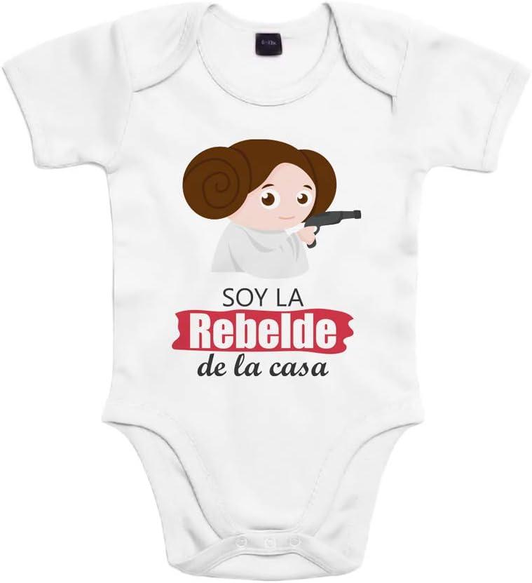 SUPERMOLON Body bebé algodón niña Soy la rebelde de la casa 6 meses Blanco Manga corta