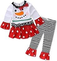 Zainafacai Christmas Outfit Baby Girl Santa Outfit Long Sleeve Ruffle Romper Long Striped Pants 2PCS Clothing