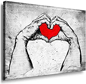 Banksy Graffiti Street Art 1236. Size 100x70x2cm(l/h/w). Canvas On Wooden Frame. Made In Germany.