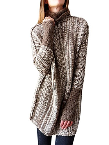 (Women Sweaters Oversized Pullover High Neck Long Knit Fall Winter Sweater Jumper Tops)