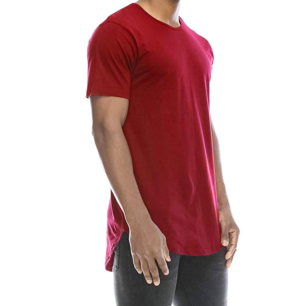 iZHH Men's T-Shirt Casual Basic Crew Neck Hip Hop Solid Slim T-Shirt Top Blouse Red