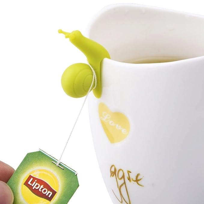 10x Creative Snail Shape Silicone Tea Bag Holder Cup Mug Candy Color Gift Set