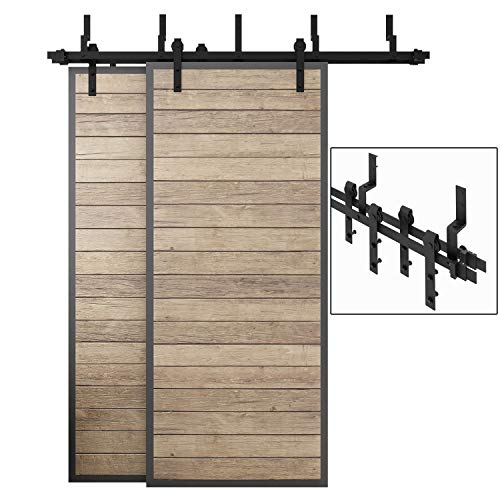 EaseLife 6.6 FT Bypass Double Door Sliding Barn Door Hardware Track Kit - Heavy Duty | Ultra Hard Sturdy | Slide Smooth Quiet | 6.6FT Track Double Door Bypass Kit