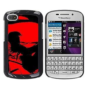 TopCaseStore / la caja del caucho duro de la cubierta de protección de la piel - Black Contrast Painting Vampire Alone - BlackBerry Q10