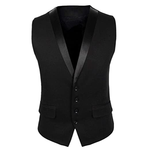 Gfones Men Formal Business Dress Vest for Suit or Tuxedo Single-Breasted Waistcoat