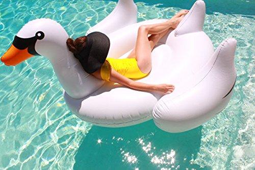 Beach Toy ® - Materasso gonfiabile, gonfiabile galleggiante gigante cigno bianco, adulti e bambini, 2-3 persone, taglia XL: 190 x 150 x 150 cm, consegna rapida