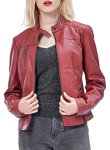 Fahsyee Women's Faux Leather Jackets, Zip Up Motorcycle Short PU Moto Biker Outwear Fitted Slim Coat Wine Red