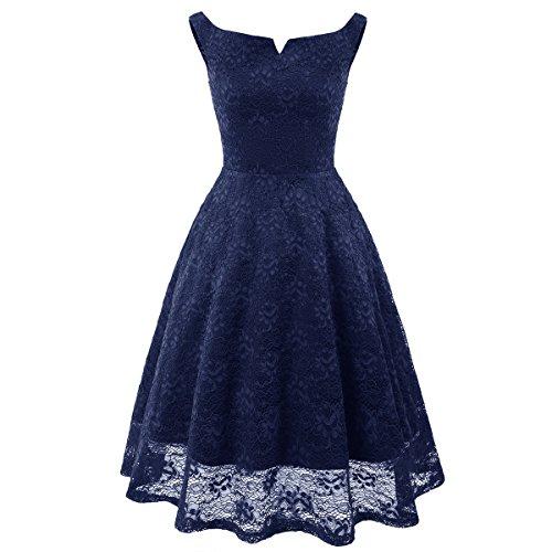 ZFFde Vintage Hepburn Pizzo Abito Abito Blu Blu Nero Basic Verde Rosa donna abito per In Sera Fashion Audrey Rosso Pizzo In da 5rqFW5