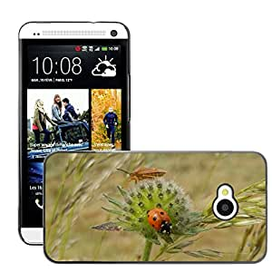 Just Phone Cover Etui Housse Coque de Protection Cover Rigide pour // M00138979 Mariquita Insectos Flores // HTC One M7