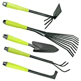 COM-FOUR 5-piece garden set with green handles - double hook, small scrubber, joint scraper, small brush & flower trowel