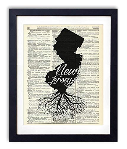 (New Jersey Home Grown Upcycled Vintage Dictionary Art Print 8x10 )