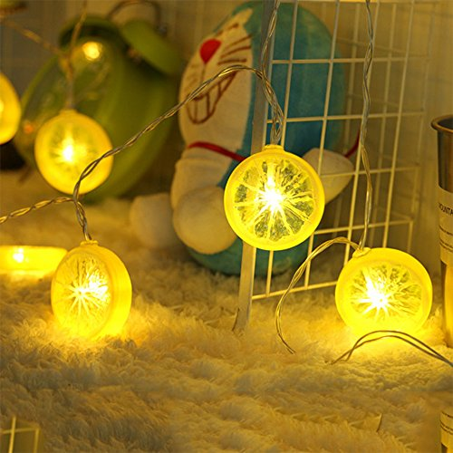 Novelty Lemon Fairy String Lights with 20 LED, Battery Operated Warm White Twinkle christmas String Lighting for Wedding ,Party,Festival,Home Decoration 13ft/4m (Provide two extra lemon slices) (Make Money Have A Lemonade Stand)