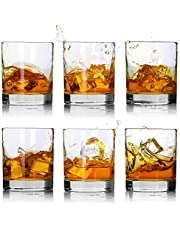 Whiskey Glasses-Premium 11 OZ Scotch Glasses Set of 6 /Old Fashioned Whiskey Glasses,Style Glassware for Bourbon/Rum glasses/Bar whiskey glasses,Clear