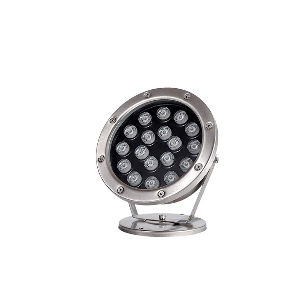 Pinjeer IP68 Waterproof 18W Led In-ground Underwater Light Modern Silver Outdoor Stainless Steel Underground Light Path Way Pool Fountain Community Garden Decorative Buried Lamp (Color : Warm Light)