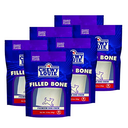 CHEWY LOUIE Small Bone Filled with Peanut Butter 6pk - Natural Beef Bone with Protein Rich Filling. Long-Lasting with Superior Dental Support Dog Treats.