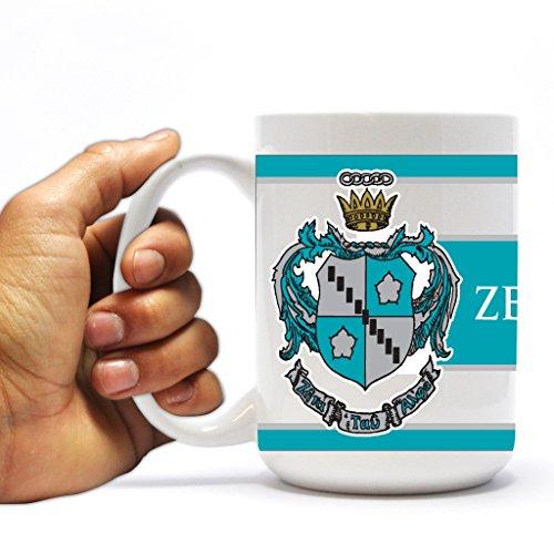 VictoryStore Ceramic Mugs - Zeta Tau Alpha, Coat of Arms Stripes Coffee Mug, 15oz (Alpha Stripe)