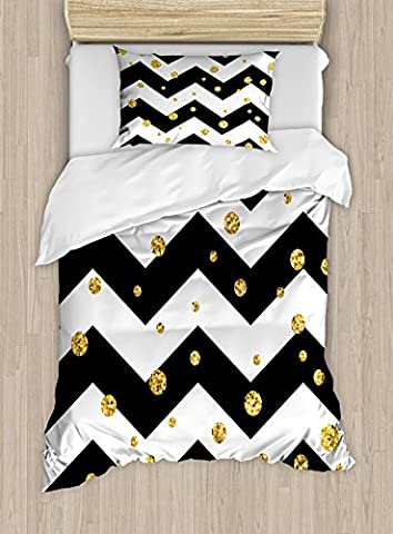 Gold and White Duvet Cover Set by Ambesonne, Bold Zig Zag Horizontal Lines with Polka Dots Party Themed Image, 2 Piece Bedding Set with 1 Pillow Sham, Twin / Twin XL Size, Yellow White and - Polka Dots Teen Bedroom