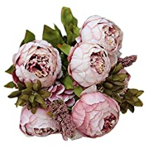 Artificial Fake Flowers In Vase Purple White Pink Beige Blue Red 8 Heads Bouquet Peony Silk Flower For Wedding Party Home Garden Office Coffee Bridal Hydrangea House Decorate (Khaki)