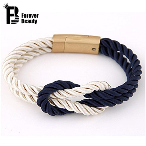 Rope Knot Bracelets with Magnetic Clasp-5 Colors-unisex (Beige and Blue)