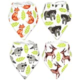 Stadela Baby Adjustable Bandana Drool Bibs for Drooling and Teething Nursery Burp Cloths 4 Pack Unisex Baby Shower Gift Set for Girl and Boy – Enchanted Forest Woodland Animal Fox Bear Deer Raccoon