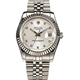 Men's Gold-Plated Stainless Steel Calendar Diamond Luminous Water Resistant Automatic Wrist Watches (Silver)