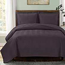 "Chevron-Charcoal- King/Cal King Size, Over-Sized Quilt 3pc set, Luxury Microfiber Coverlet 110""x96"" 2- Pillow Shams 20x36"""
