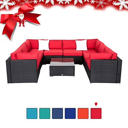 Peach Tree 9Pcs Outdoor Patio PE Rattan Wicker Sofa Sectional Furniture with 2 Pillows and Coffee Table (Wicker Furniture Patio Black Friday)