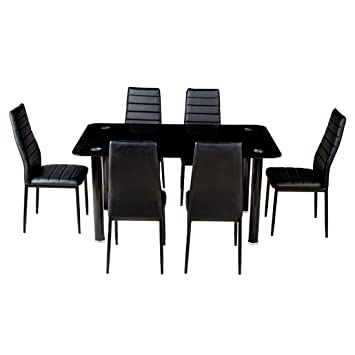 Woodness Osaka Glass 6 Seater Dining Table Set (Black)