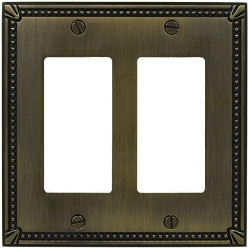 D.H.S. Traditional Wall Switch Cover Plate - Antique English - Die Cast Zinc Base Metal - Decora Rocker - 2 Gang